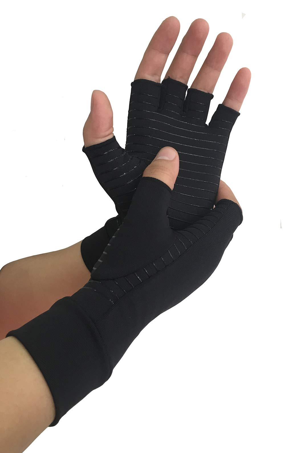 Copper Arthritis Gloves, Fingerless Compression Hand Gloves for Men and Women Relieving Rheumatoid, Osteoarthritis, Carpal Tunnel (M)
