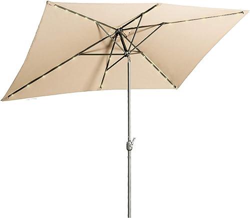 Aok Garden 6.5 10 ft Rectangular Patio Umbrella with Solar Lights Outdoor Table Umbrella with Push Button Tilt Crank 6 Sturdy Ribs for Market Deck Backyard, Sand