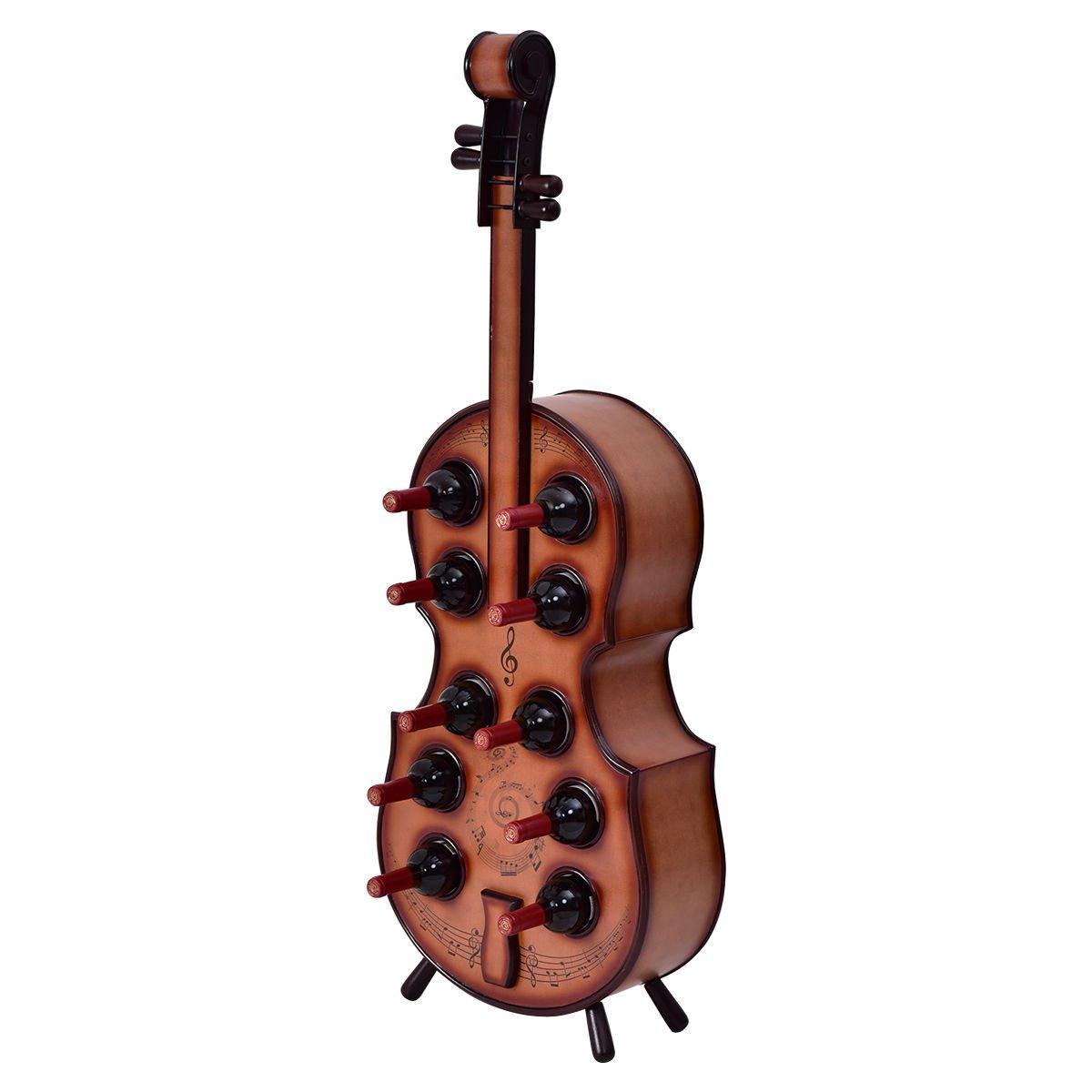 10 Bottles Wood Wine Rack Violin Cello Bottle Holder 16th Century Liquor Shelf + FREE E-Book