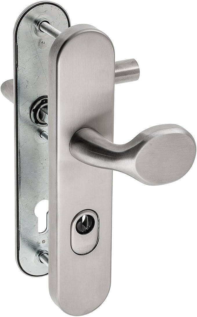 Schildgarnitur Haustürbeschlag Edelstahl matt Sicherheitsbeschlag ES1 ZA 92mm