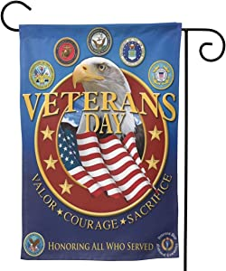 "Eagle USA Flag of Veterans Day 2020-11 Personal Seasonal Banner Garden Flag with Double Sided for Yard Outdoor Decor 28""x40"""