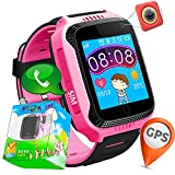 TURNMEON 1.44' Touch Screen GPS Tracker Smart Watch Phone for Kids with Pedometer Camera SIM Calls Anti-lost SOS Bracelet Smartwatch for Easter Children Girls Boys Birthday Gifts (Pink*Black)
