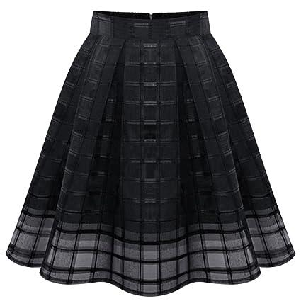 Moollyfox Mujer Faldas Midi Cortas Falda Acampanadas Plisada ...