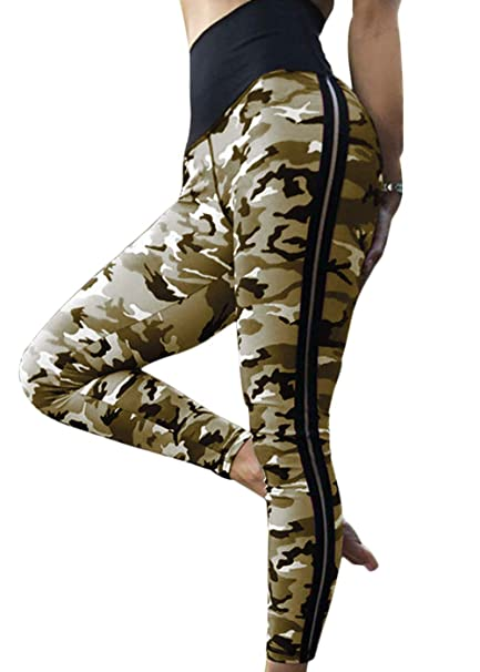 2d6a6b6082c34 Women's High Waisted Bottom Scrunch Leggings Ruched Camouflage Yoga Pants  Push up Butt Workout Capris at Amazon Women's Clothing store: