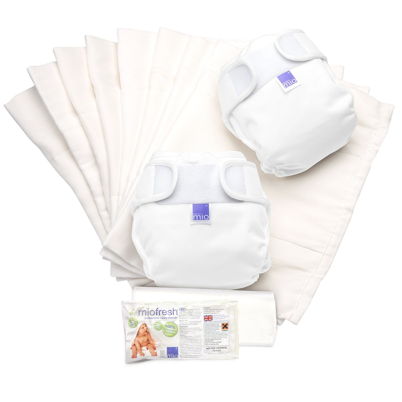 Bambino Mio, Miosoft Reusable Nappy Set, White, Size 2 (9kg+) NS2 A