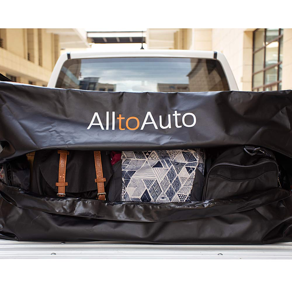 100/% Waterproof 600D Heavy Duty Fits Any Truck Size(51x40x22/) 26 Cubic Feet /Simple/and Convenient for/Installation AlltoAuto Truck Bed Cargo Bag with Cargo Net