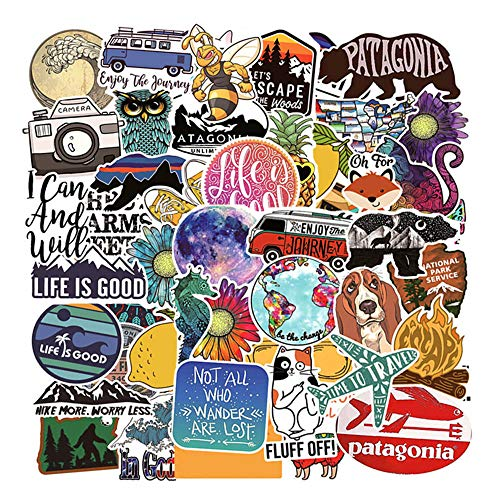 Stickers for Water Bottles Big 53-Pack,Sanmatic Cute Funny Stickers for Teens,Girls,Adults | Perfect for Waterbottle,Laptop,Phone,Travel Vinyl Stickers Waterproof ()
