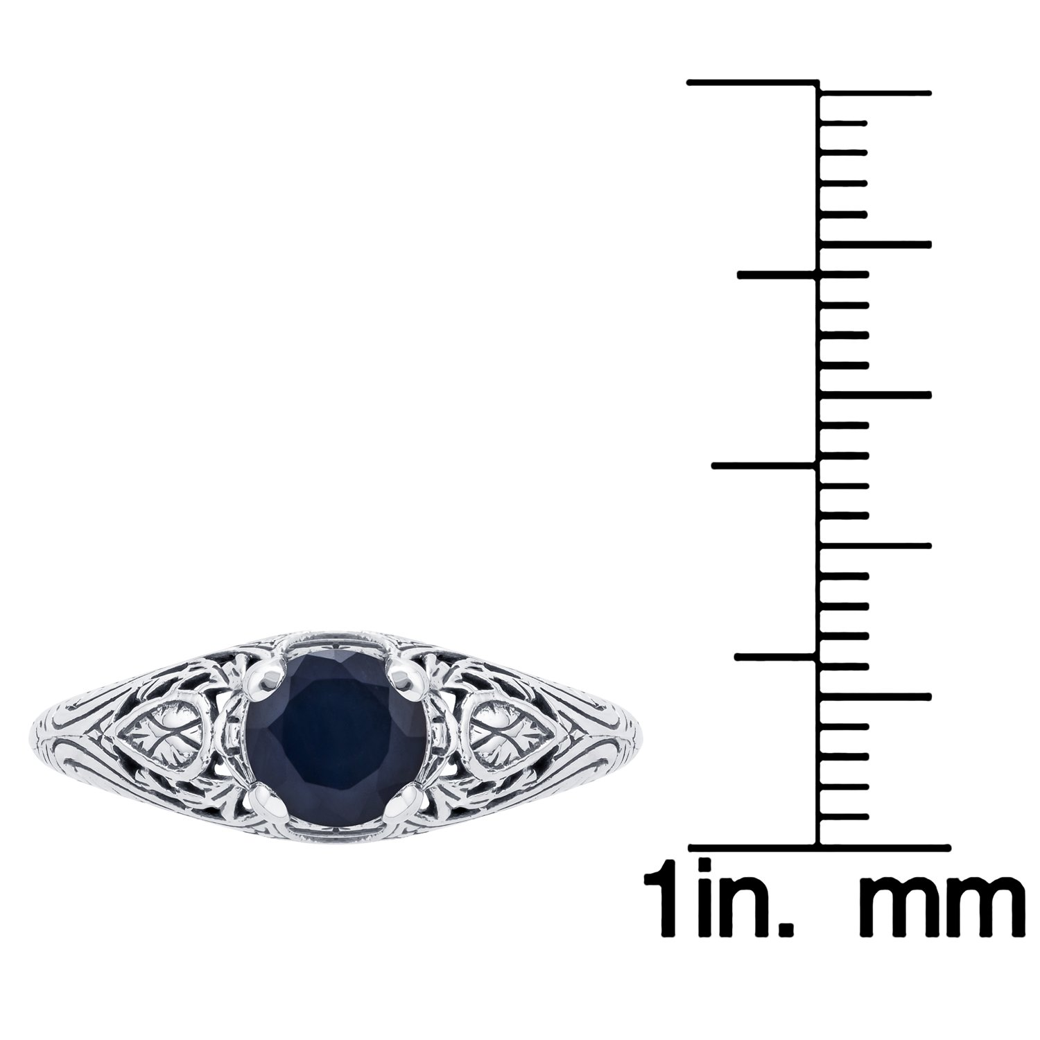 10k White Gold Vintage Style Genuine Round Sapphire Scroll Ring by Instagems (Image #3)