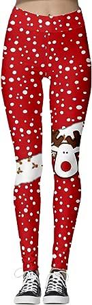 GRAJTCIN Womens Christmas Holiday Leggings, Stretchy Fashion Printed Santa Claus Pants