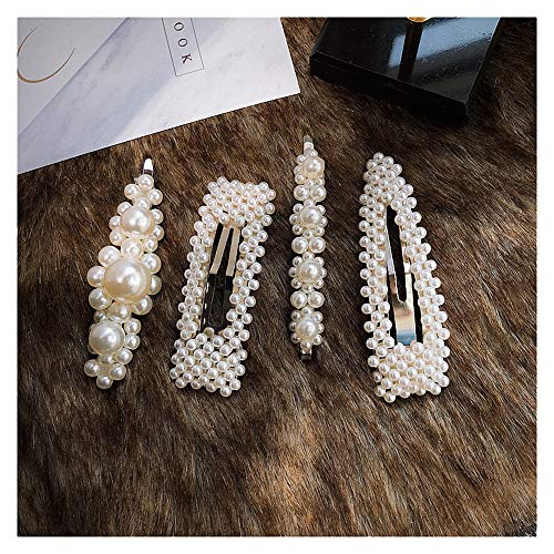 Jwoolw 4 Pack White Faux Pearls Hair Clips for Women Girls Bling Wedding Bridal Hair Pins Hair Barrettes Accessories for Birthday Valentines Day Gift ()