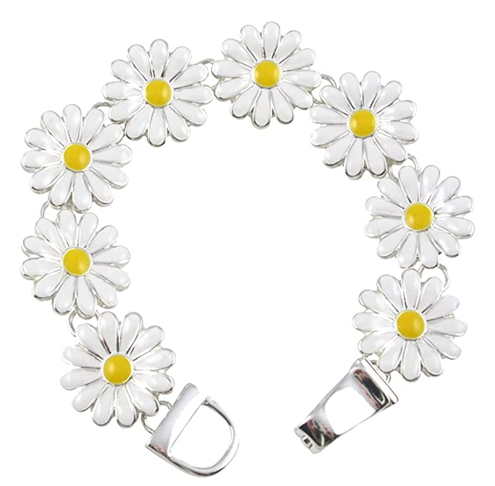 1960s Jewelry Styles and Trends to Wear Silver Tone Magnetic Clasp White and Yellow Enamel Daisy Flower Floral Charm Bracelet Women and Teens $17.99 AT vintagedancer.com