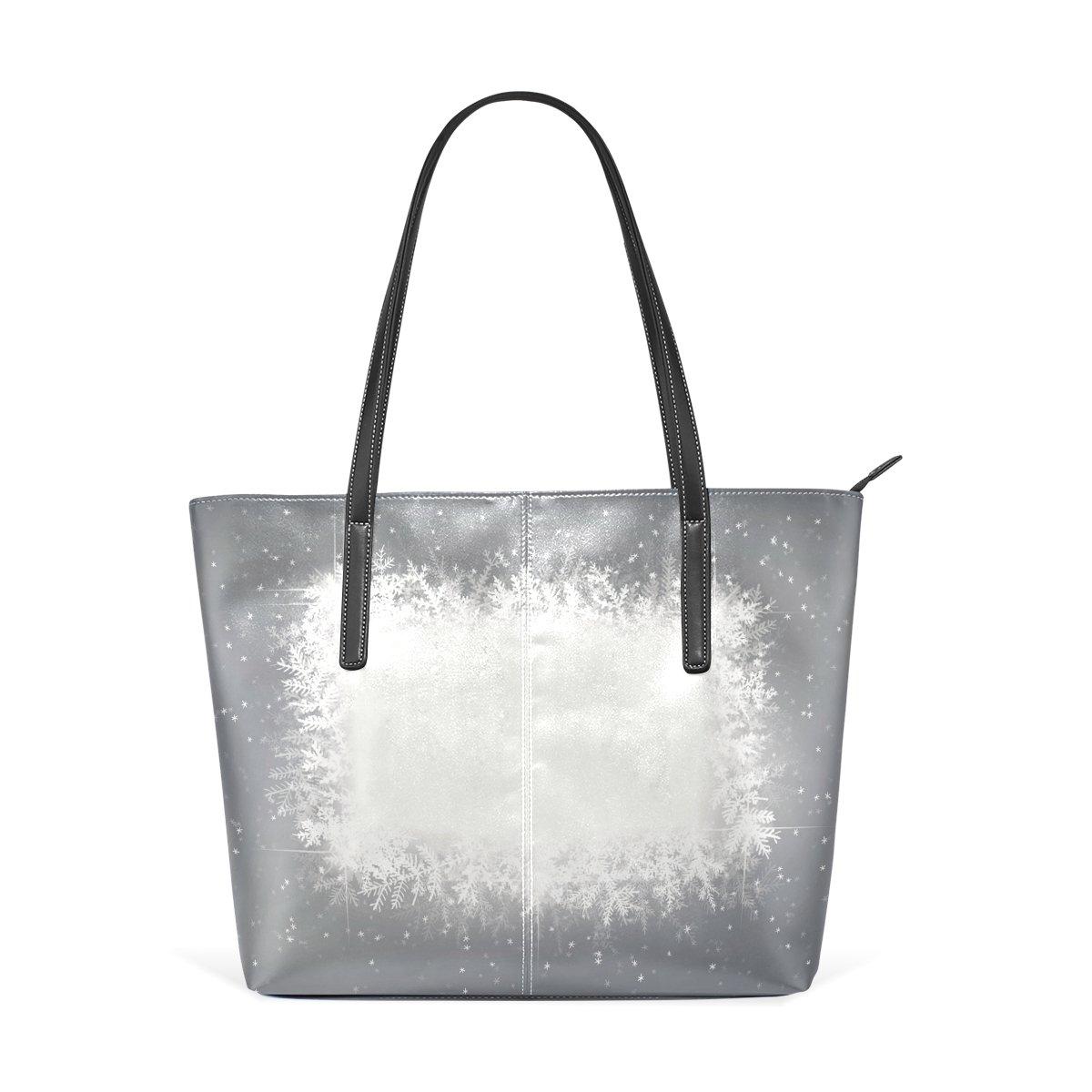 Women Leather Handbags Shine Snowflake Top Handle Shoulder Bags