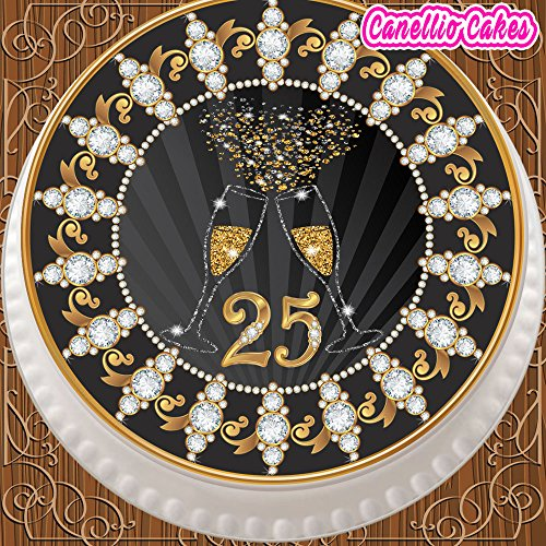 PRECUT EDIBLE DECORATION ICING SHEET 7.5 INCH ROUND CAKE TOPPER 25TH CHAMPAGNE ANNIVERSARY Z30