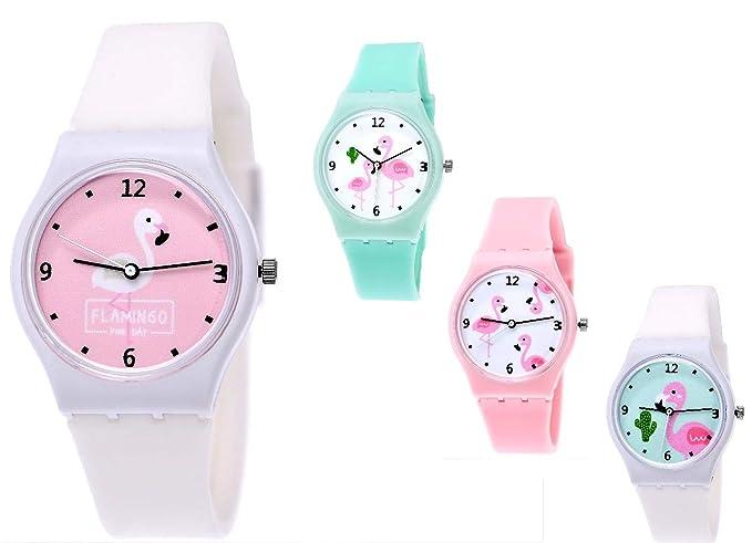 Bonita Pure Time® Mujer Reloj niña de reloj de cuarzo reloj mujer reloj de silicona reloj de pulsera Caucho con flamencos Diseño en blanco turquesa: ...