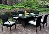 7 pcs Patio Garden Outdoor Dining Set Glass Table Arm Chairs PE Wicker in Black