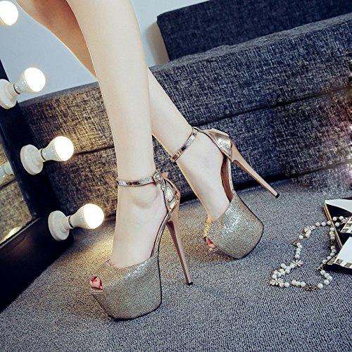 DYY Zapatos de tacón alto sexy nightclub boca de pescado femenino palabra plataforma impermeable sandalias de hebilla Dorado