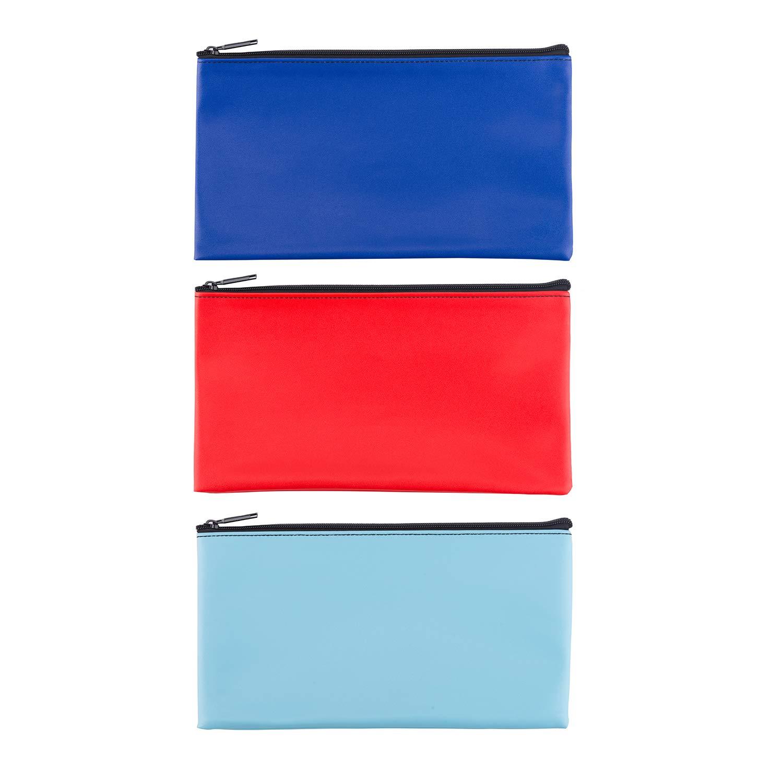 LUNASMILE Leatherette Securit Bank Deposit Bag/Check Wallet/Utility Zipper Coin Bag, 11 x 6 Inches Check Bag (Mix4)