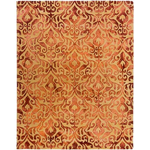 Dodge Bohemian Farmhouse 8' x 10' Rectangle Transitional 100% Wool Burnt Orange/Tan/Rust/Peach Area Rug