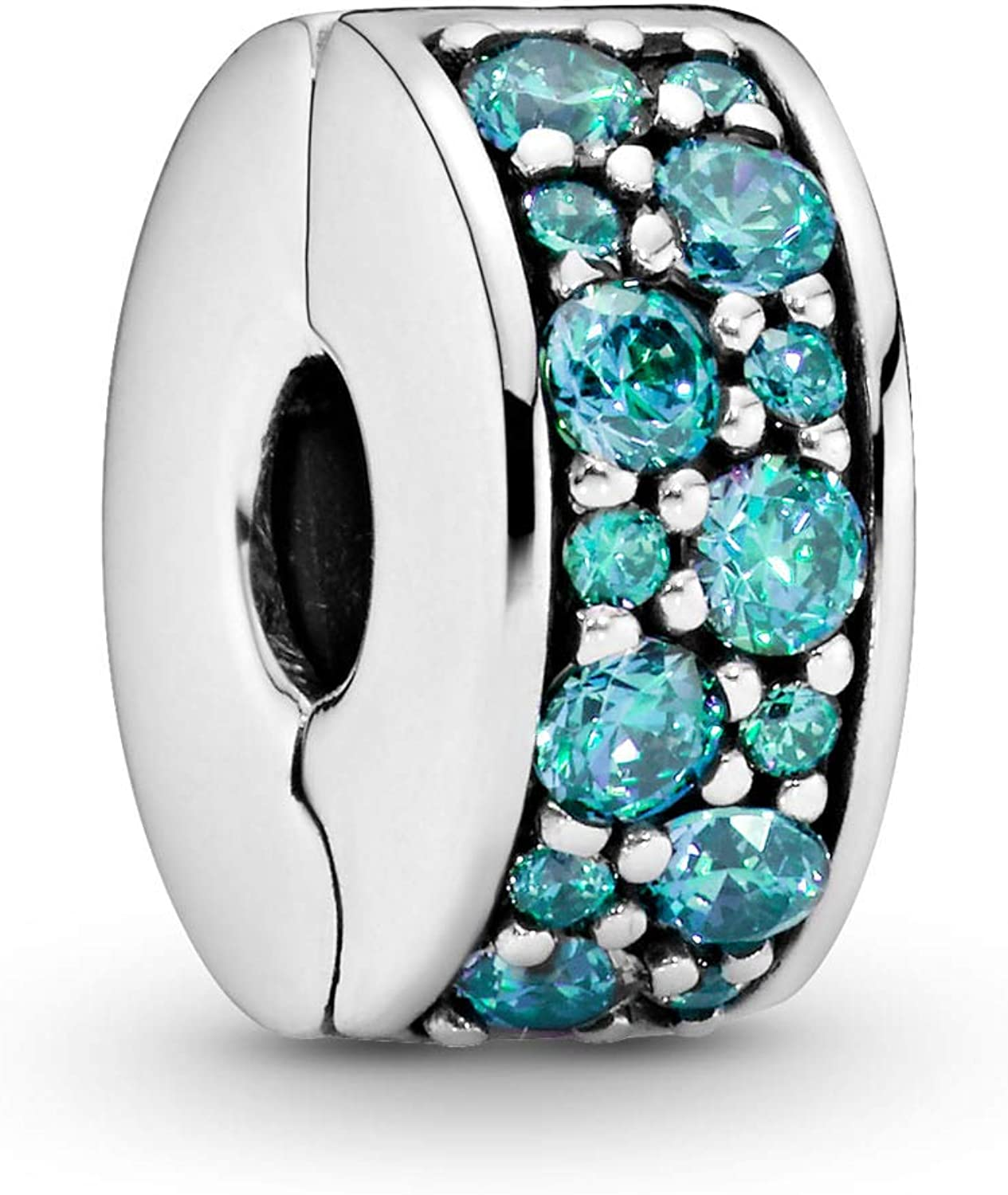Amazon Com Pandora Jewelry Teal Pave Clip Cubic Zirconia Charm In Sterling Silver Jewelry