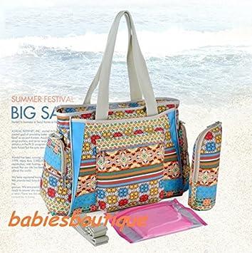a0d9ff798e06d Bohemian Style Large 5pcs Baby Nappy Changing Bags Diaper Bag Set 10  Sections (Bohemian Blue): Amazon.co.uk: Baby