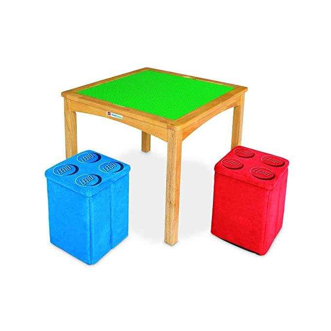 Imaginarium LEGO Activity Table with 2 Ottomans with Switch Table Surface - Natural