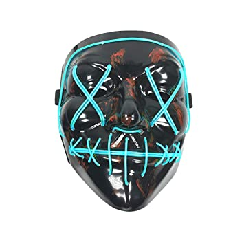 Wei Xi - Máscara de Halloween, cosplay terrorífico con luz LED, máscara de la