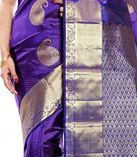 Mandakini — Indian Women's Kanchipuram - Handloom - Pure Silk Saree (Magenta ) (MK241) by Mandakini (Image #3)