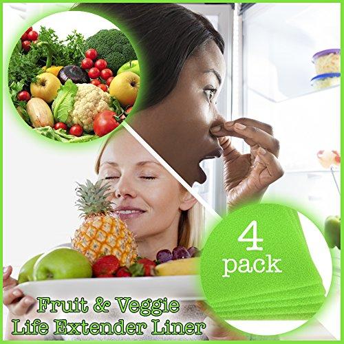 Frutas y Vegetales vida extensor, maletero para nevera cajones (4unidades)–se extiende la vida de su producir y evita...