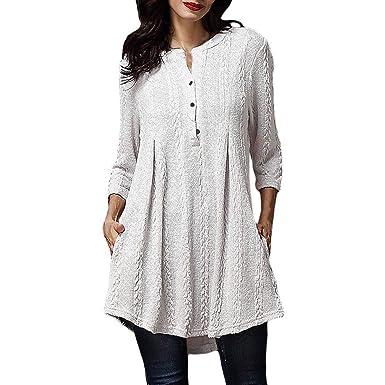 ❤ Tefamore Mujer Blusón, Otoño Tejido de Punto Suéter 3/4 Manga Blusas para Mujer Moda Túnica Tops Camisa para Adolescentes Chicas: Amazon.es: Ropa y ...