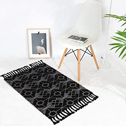 Kimode Moroccan Cotton Area Rug Hand Woven Black White Chic Diamond Print Tassels Throw Rugs Door Mat For Bathroom Bedroom Living Room Laundry Room