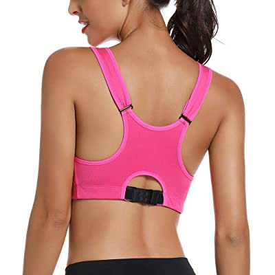 Zip Front Sports Bras Wirefree Post Surgery Bras High Support Workout Yoga Bras for Women High Impact Active Racerback Bras Adjustable Straps Plus Size for Large Breast 59 Black, L
