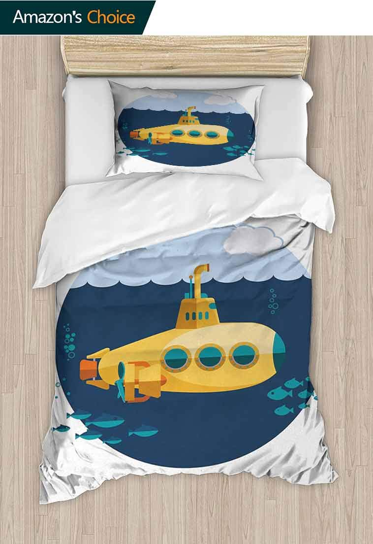 Yellow Submarine Printed Duvet Cover and Pillowcase Set, Illustration of a Submarine under the Sea Fish and Clouds, Breathable Lightweight Soft 2 Pieces Duvet Cover&Pillow Shams, 71 W x 79 L Inches