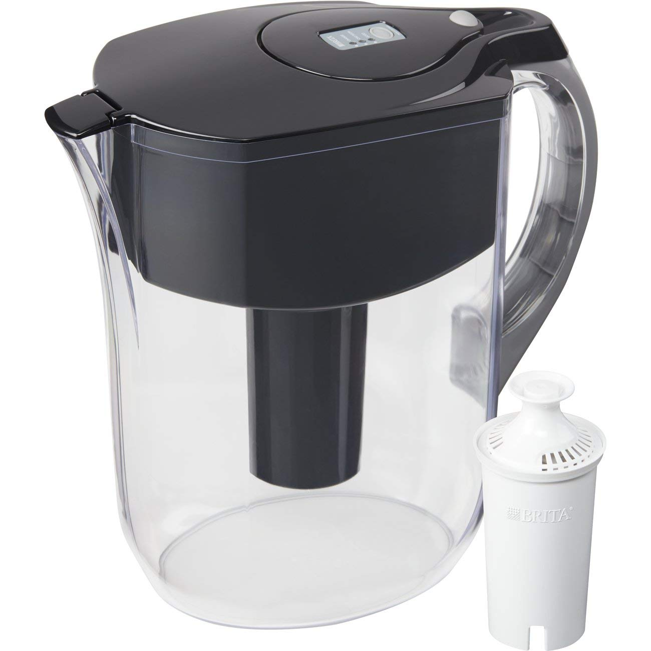 Brita Large 10 Cup Water Filter Pitcher with 1 Standard Filter, BPA Free – Grand, Black