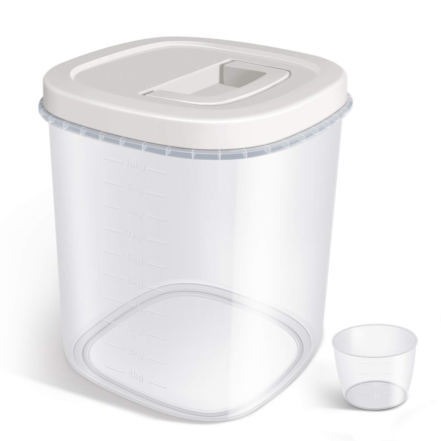 Airtight Food Storage Container - 20 Lbs Rice Container Bin with Measuring Cup - Cereal Container Dispenser for Rice Flour Storage, Kitchen Pantry Organization