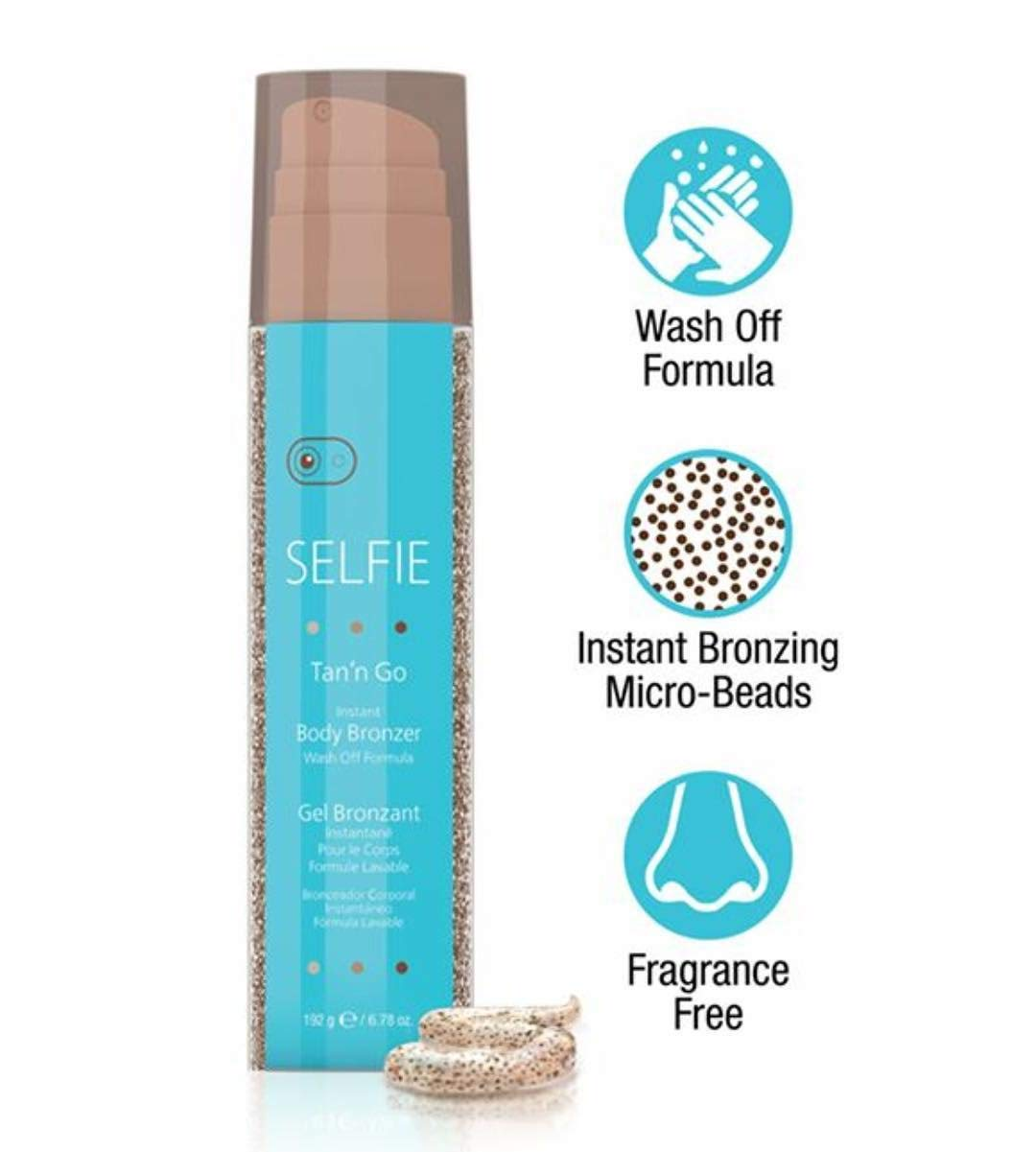 Selfie Tan'n Go Instant Body Bronzer with Wash Off Formula - Sunless self tanner (Medium Tan) rich,  Exotic natural looking fragrance-free tan for head to toe for  all skin types, 6.7 oz by Selfie (Image #4)