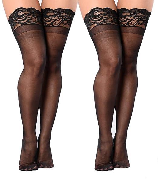 Womens Black Fishnet Thigh Highs Plus Size Stay-up Rhinestone Stocking 2 Pairs
