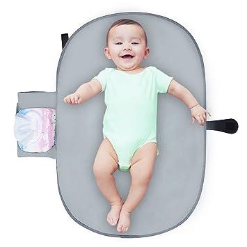 Cambiador portátil con bolsillos de almacenamiento para bebés para cambiar pañales fácilmente, kit de almohadilla