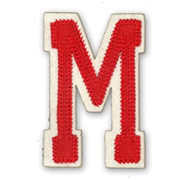 Alphabet Varsity College Style Letters Iron On Motif Red Letter M Size H 6cm