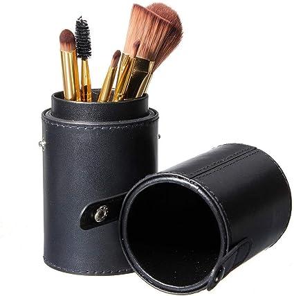 Caja organizadora de brochas de maquillaje de piel sintética, estuche para cosméticos, pinceles de maquillaje, lápices, organizador de copas, caja de almacenamiento vacía, color negro: Amazon.es: Belleza