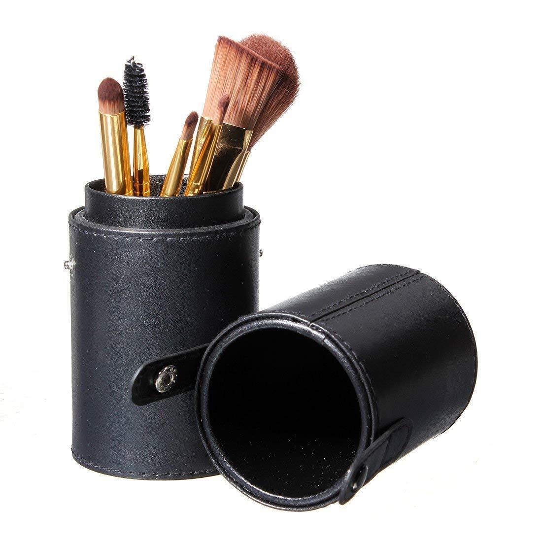 Caja organizadora de brochas de maquillaje de piel sintética, estuche para cosméticos, pinceles de maquillaje, lápices, organizador de copas, caja de almacenamiento vacía, color negro Rocita