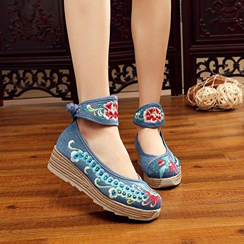 zapatos blue lenguado lino xiuhuaxie GuiXinWeiHeng del c¨®modo tend¨®n estilo aumentados bordados femeninos ocasional Zapatos manera ¨¦tnico IFAZZqz
