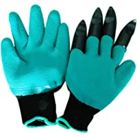 Golden Top Garden Genie Gloves with Fingertips Waterproof - As Seen On TV Easy to Dig and Plant Safe for Rose Pruning(1 Pair)