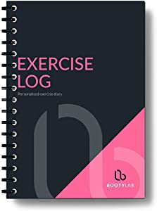 Exercise Diary/Workout Log Book – 100 Page A5 Training Tracker (inc Cardio, Calories & Notes) – Premium Gym Diary for Men and Women – Elegant Black and Pink Soft Touch Cover – Durable Wire Bound