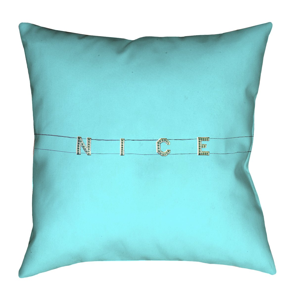 ArtVerse Katelyn Smith 18 x 18 Spun Polyester Double Sided Print with Concealed Zipper /& Insert Blue Nice Sign Pillow