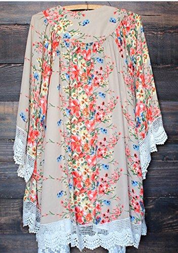 Relipop Womens Sheer Chiffon Blouse Loose Tops Kimono Floral Print Cardigan,Beige,Medium