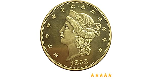 Bespoke Souvenirs Rare Antique United States 1852 Year 20 Dollars Liberty Head Double Eagle Without Motto Twenty D Great Gold Color Coin