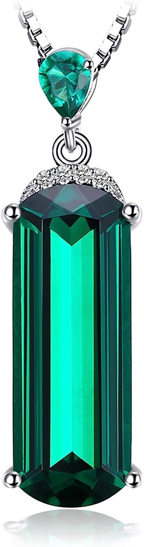 JewelryPalace Colgante 4.29ct nano rusa imitado esmeralda sólido Collar Plata de ley 925 cadena de caja 45cm