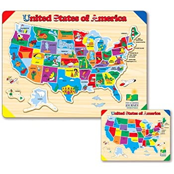 Amazoncom Melissa Doug USA Map Wooden Jigsaw Puzzle Pcs - Usa amap
