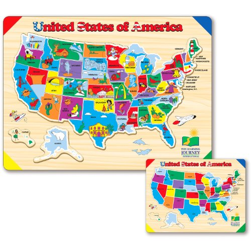 The Learning Journey Lift & Learn USA Map Puzzle (Kids Learning Toys)