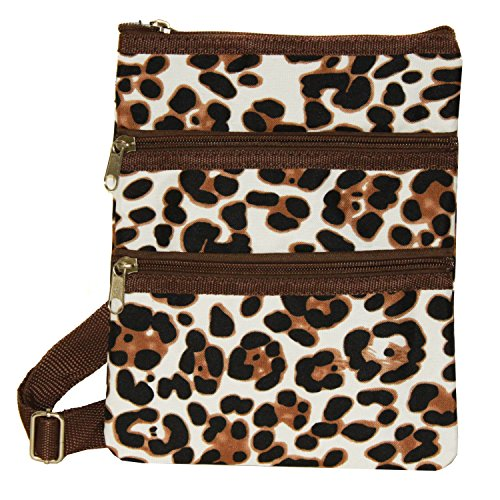 World Traveler Womens 9 Inch Swingpack Purse Bag, Brown Leopard, One Size
